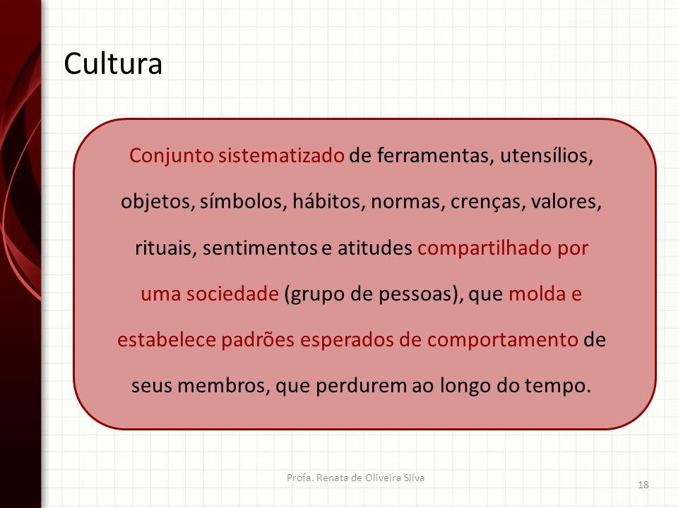 Cultura Profa. Renata de Oliveira Silva 18 Conjunto sistematizado de ferramentas, utensílios, objetos, símbolos, hábitos, normas, crenças, valores, ri