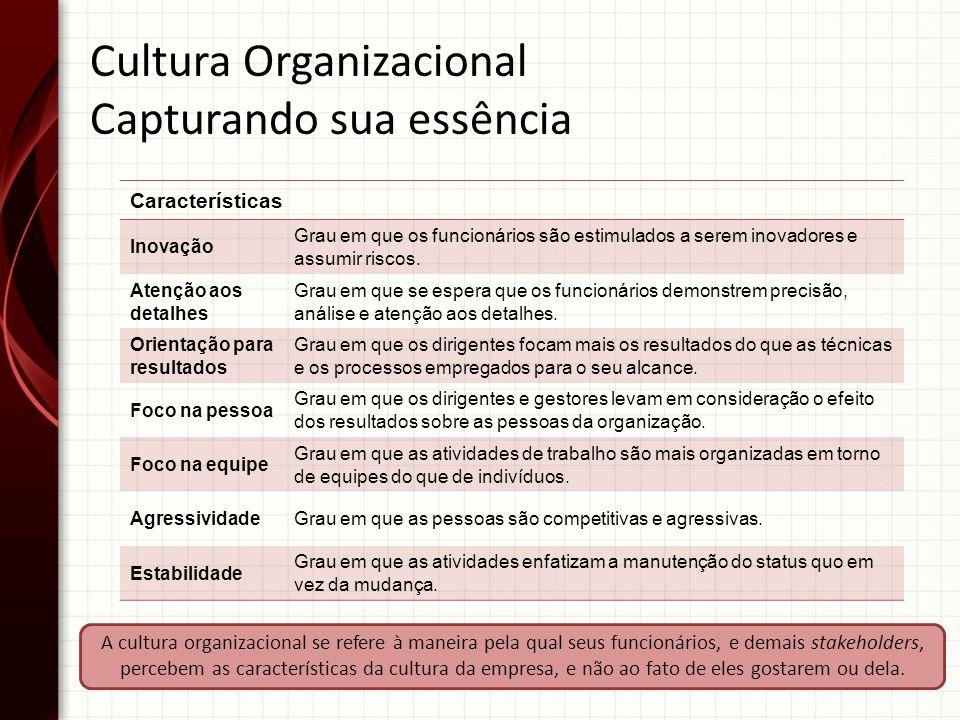 A cultura organizacional se refere à maneira pela qual seus funcionários, e demais stakeholders, percebem as características da cultura da empresa, e