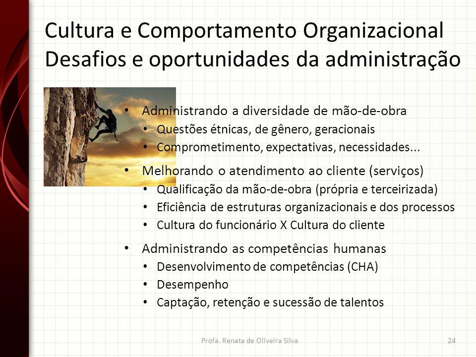 Cultura e Comportamento Organizacional Desafios e oportunidades da administração Profa. Renata de Oliveira Silva24 Administrando a diversidade de mão-