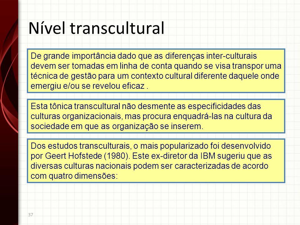 37 De grande importância dado que as diferenças inter-culturais devem ser tomadas em linha de conta quando se visa transpor uma técnica de gestão para