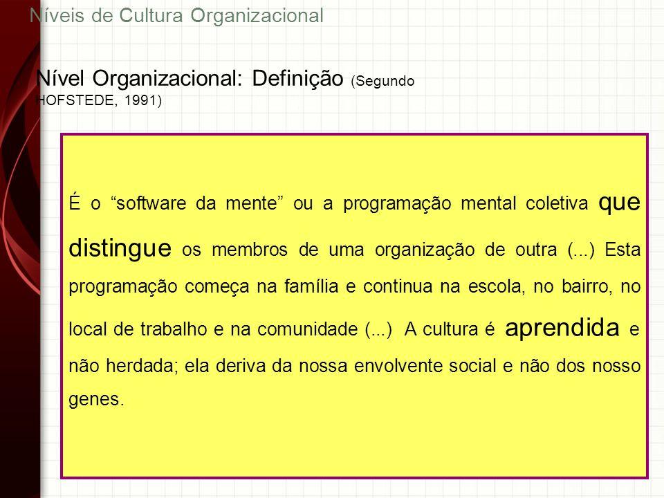 44 É o software da mente ou a programação mental coletiva que distingue os membros de uma organização de outra (...) Esta programação começa na famíli