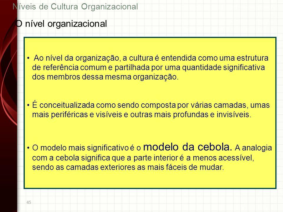45 Ao nível da organização, a cultura é entendida como uma estrutura de referência comum e partilhada por uma quantidade significativa dos membros des