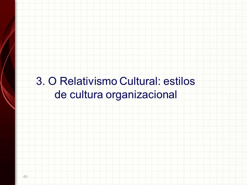 49 3. O Relativismo Cultural: estilos de cultura organizacional