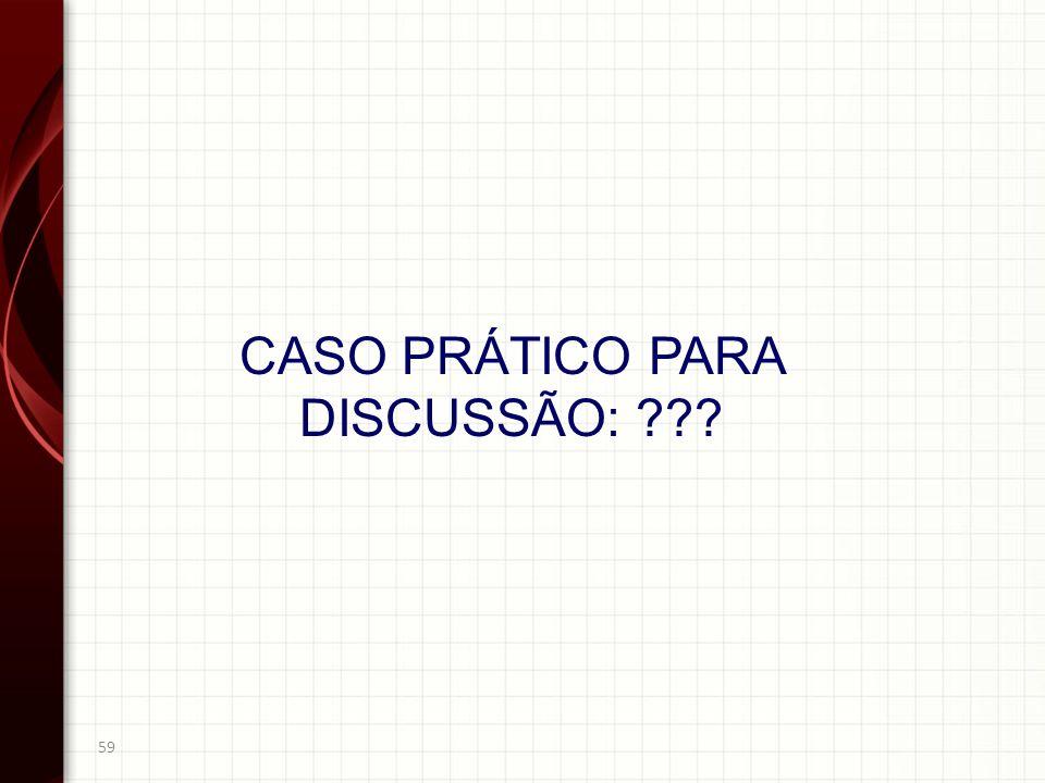 59 CASO PRÁTICO PARA DISCUSSÃO: ???