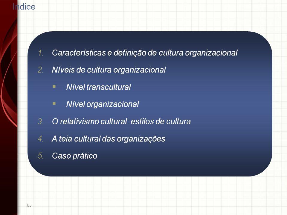63 Indice 1.Características e definição de cultura organizacional 2.Níveis de cultura organizacional Nível transcultural Nível organizacional 3.O rela