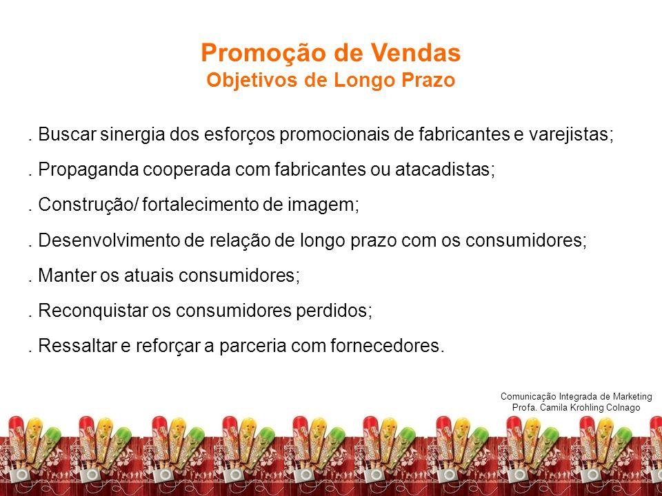 Comunicação Integrada de Marketing Profa. Camila Krohling Colnago Promoção de Vendas Objetivos de Longo Prazo Comunicação Integrada de Marketing Profa
