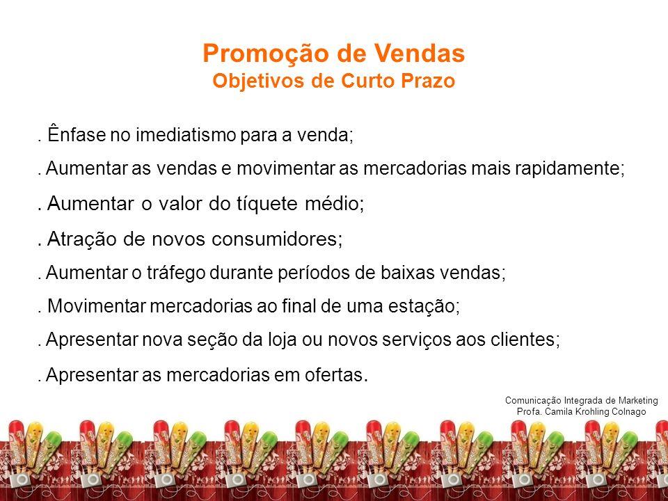 Comunicação Integrada de Marketing Profa. Camila Krohling Colnago Promoção de Vendas Objetivos de Curto Prazo. Ênfase no imediatismo para a venda;. Au
