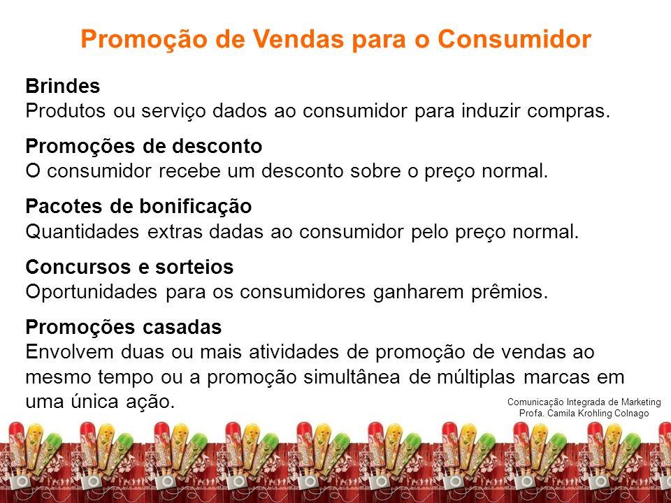 Comunicação Integrada de Marketing Profa. Camila Krohling Colnago Promoção de Vendas para o Consumidor Brindes Produtos ou serviço dados ao consumidor