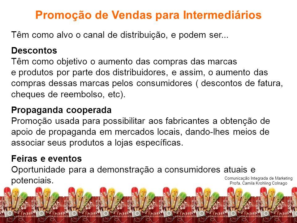 Comunicação Integrada de Marketing Profa. Camila Krohling Colnago Promoção de Vendas para Intermediários Têm como alvo o canal de distribuição, e pode
