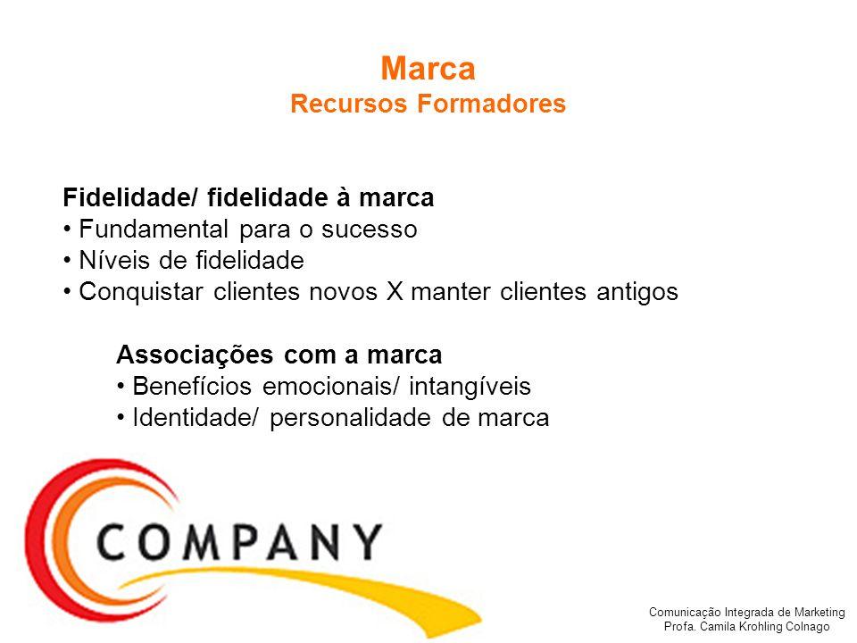 Comunicação Integrada de Marketing Profa. Camila Krohling Colnago Fidelidade/ fidelidade à marca Fundamental para o sucesso Níveis de fidelidade Conqu