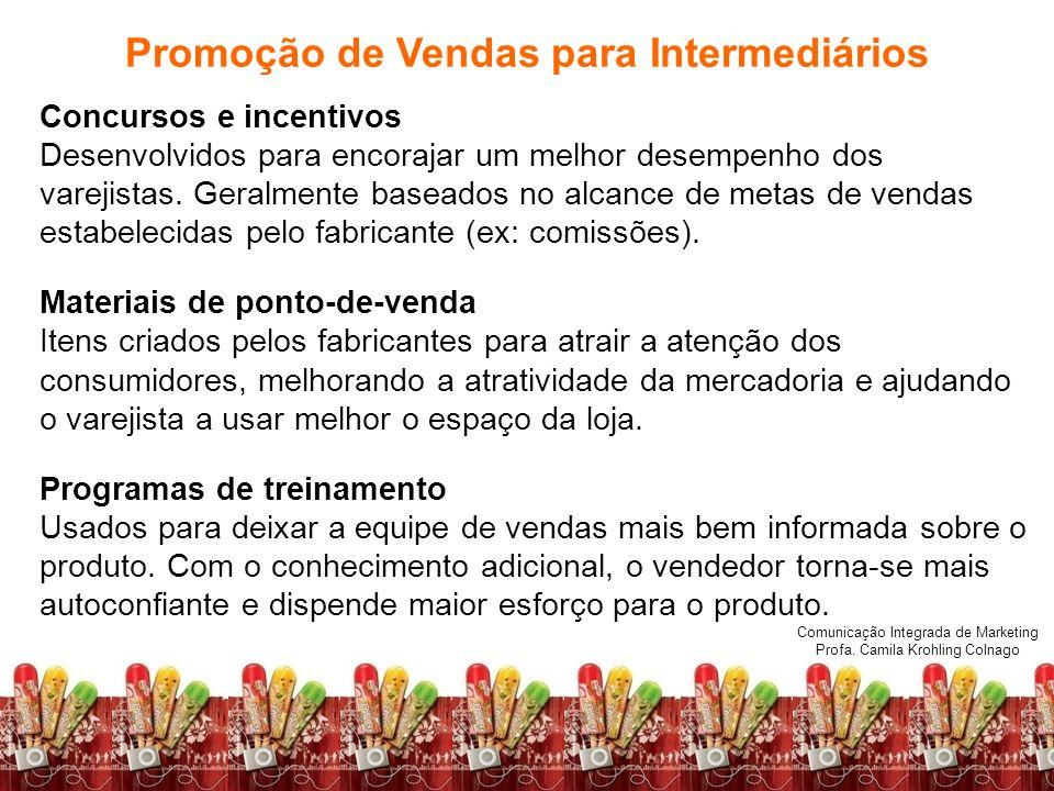 Comunicação Integrada de Marketing Profa. Camila Krohling Colnago Concursos e incentivos Desenvolvidos para encorajar um melhor desempenho dos varejis