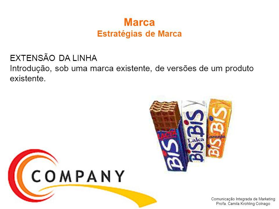 Comunicação Integrada de Marketing Profa. Camila Krohling Colnago Marca Estratégias de Marca EXTENSÃO DA LINHA Introdução, sob uma marca existente, de