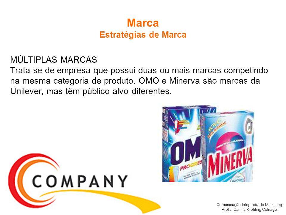 Comunicação Integrada de Marketing Profa. Camila Krohling Colnago Marca Estratégias de Marca MÚLTIPLAS MARCAS Trata-se de empresa que possui duas ou m