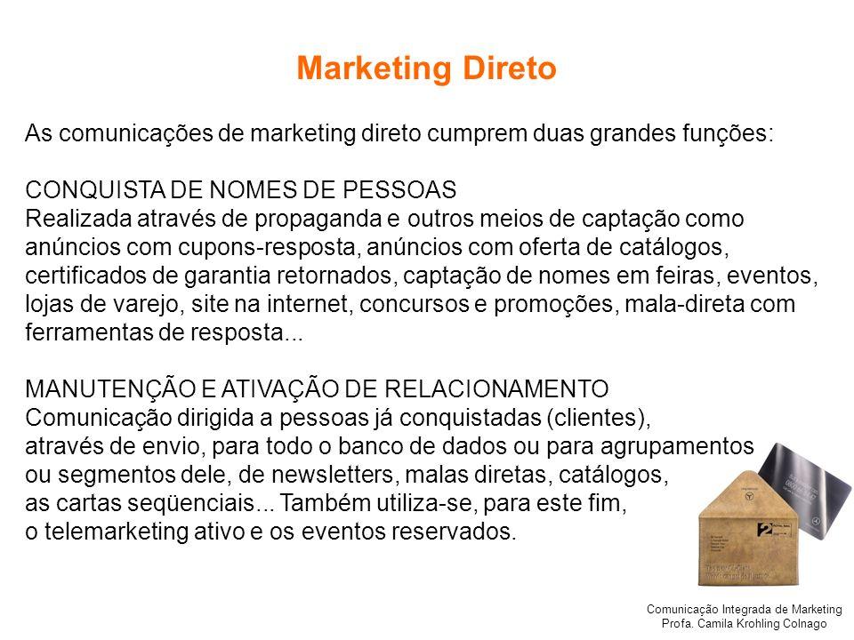 Comunicação Integrada de Marketing Profa. Camila Krohling Colnago Marketing Direto As comunicações de marketing direto cumprem duas grandes funções: C