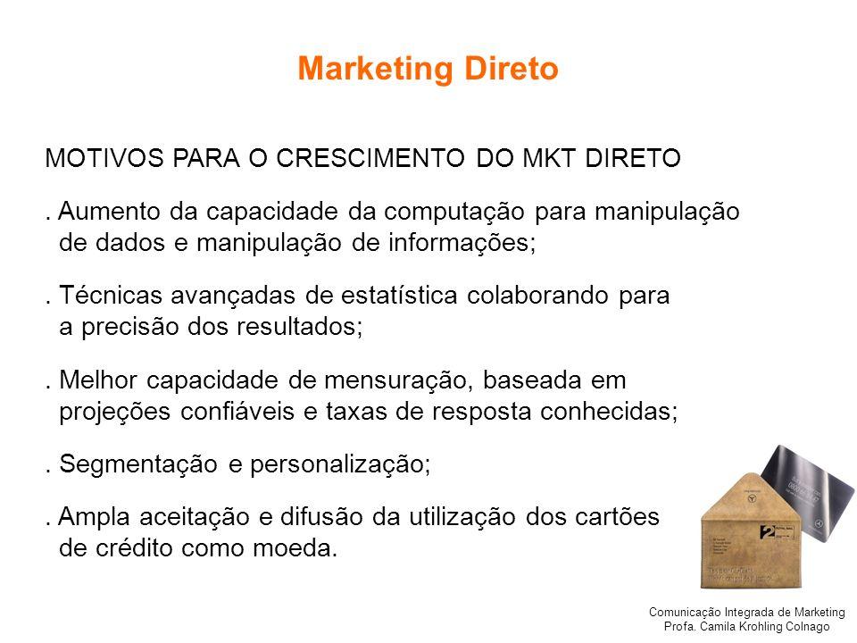 Comunicação Integrada de Marketing Profa. Camila Krohling Colnago Marketing Direto MOTIVOS PARA O CRESCIMENTO DO MKT DIRETO. Aumento da capacidade da
