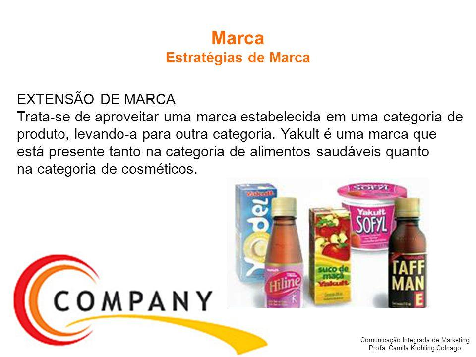 Comunicação Integrada de Marketing Profa. Camila Krohling Colnago Marca Estratégias de Marca EXTENSÃO DE MARCA Trata-se de aproveitar uma marca estabe