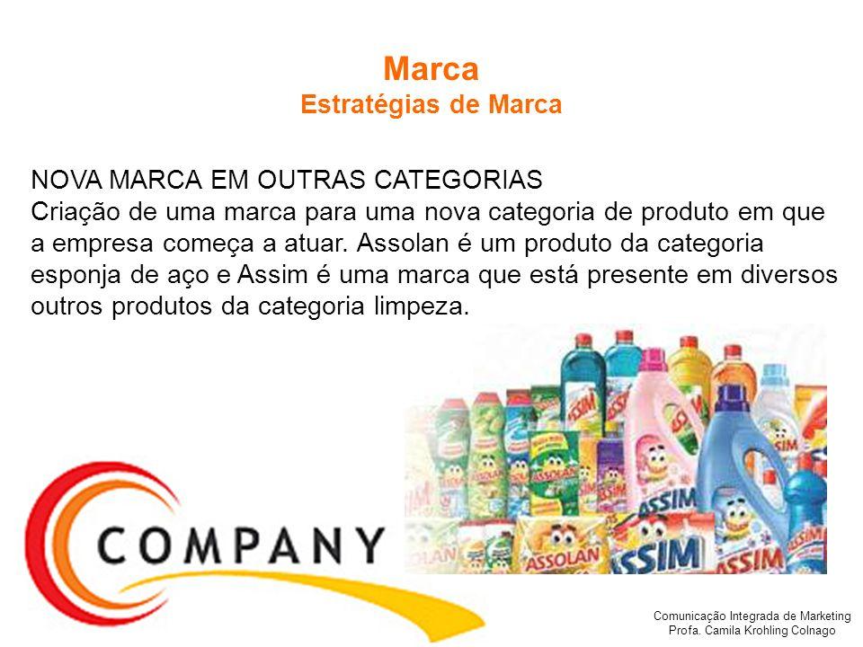 Comunicação Integrada de Marketing Profa. Camila Krohling Colnago Marca Estratégias de Marca NOVA MARCA EM OUTRAS CATEGORIAS Criação de uma marca para