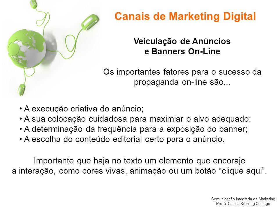 Comunicação Integrada de Marketing Profa. Camila Krohling Colnago Canais de Marketing Digital A execução criativa do anúncio; A sua colocação cuidados