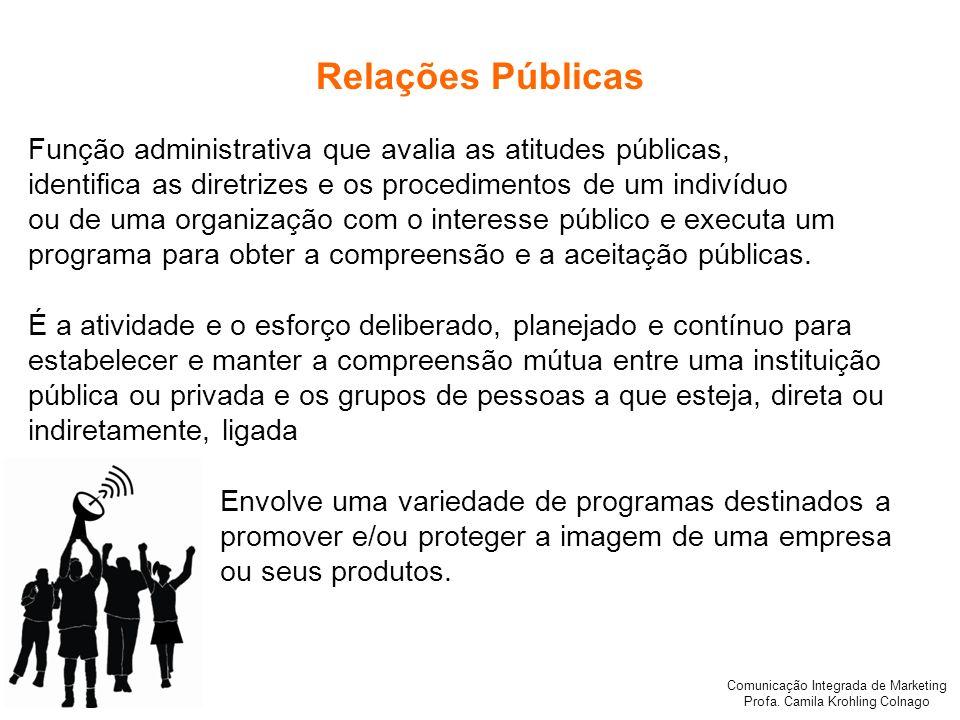 Comunicação Integrada de Marketing Profa. Camila Krohling Colnago Relações Públicas Função administrativa que avalia as atitudes públicas, identifica