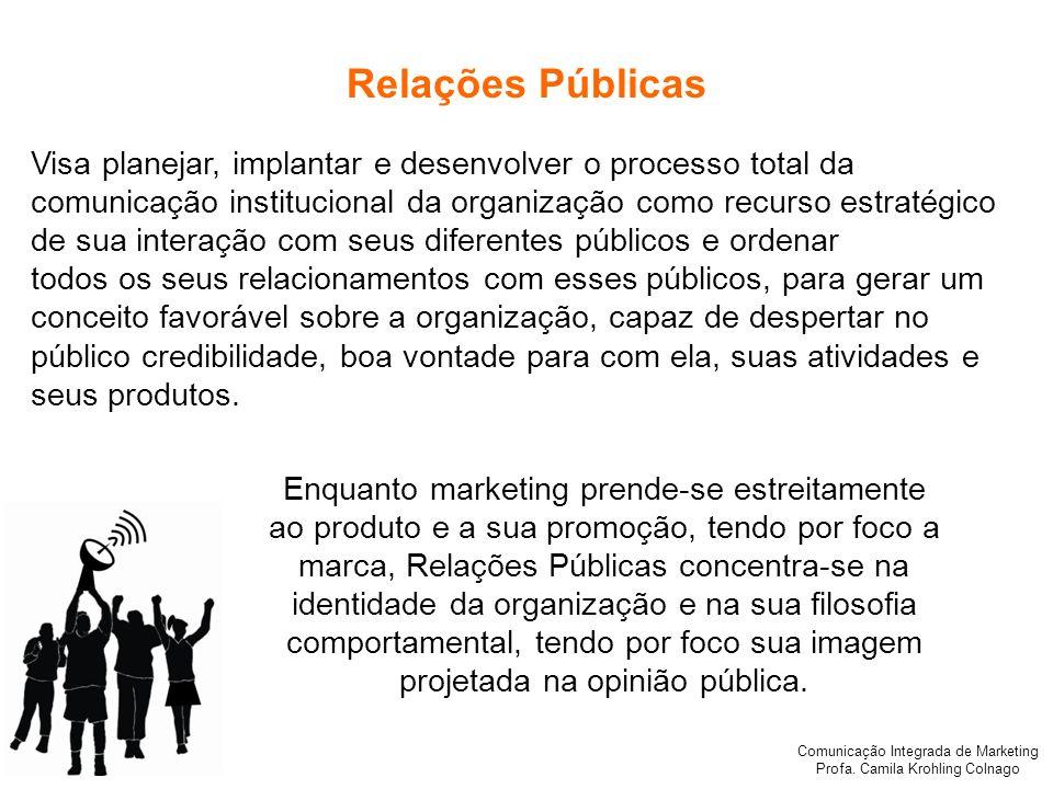 Comunicação Integrada de Marketing Profa. Camila Krohling Colnago Relações Públicas Visa planejar, implantar e desenvolver o processo total da comunic