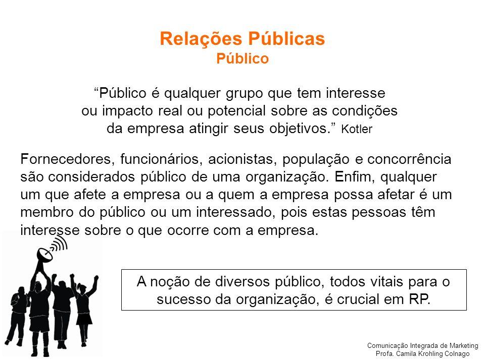 Comunicação Integrada de Marketing Profa. Camila Krohling Colnago Público é qualquer grupo que tem interesse ou impacto real ou potencial sobre as con