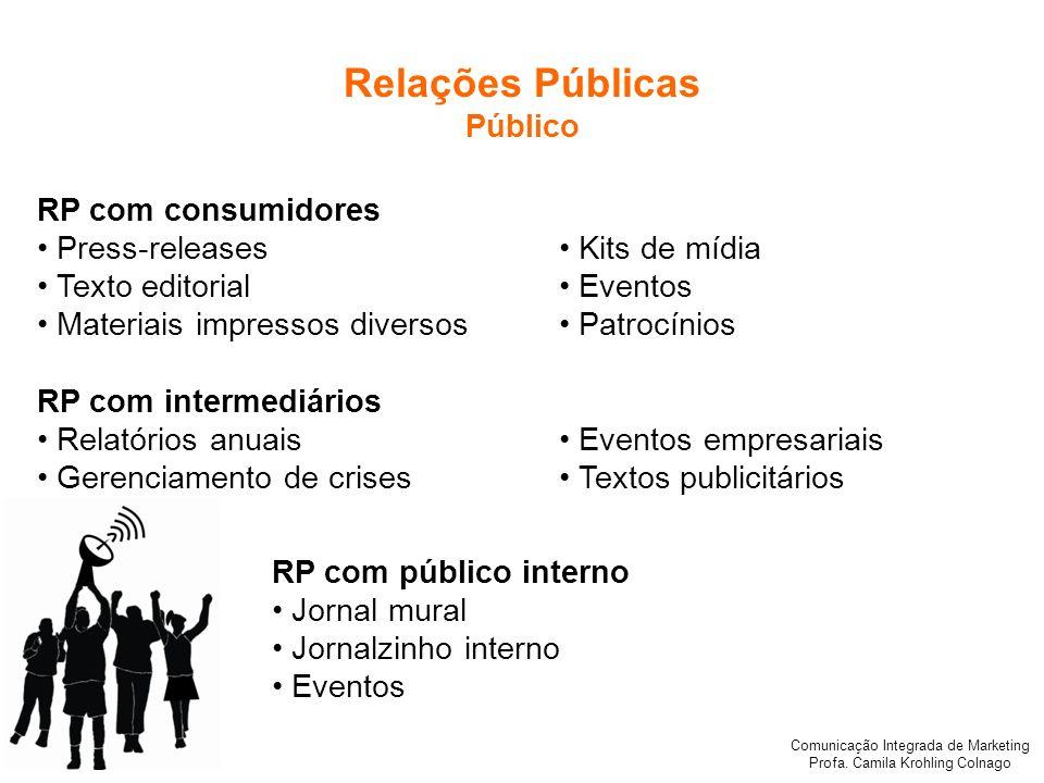 Comunicação Integrada de Marketing Profa. Camila Krohling Colnago RP com público interno Jornal mural Jornalzinho interno Eventos RP com consumidores