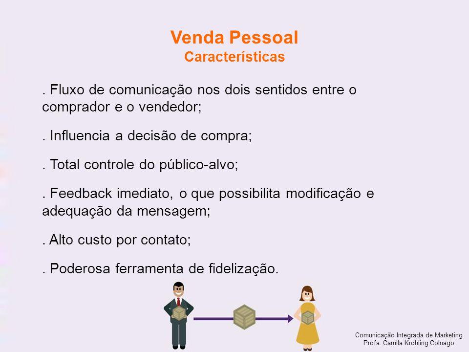 Comunicação Integrada de Marketing Profa. Camila Krohling Colnago Venda Pessoal Características Comunicação Integrada de Marketing Profa. Camila Krohl