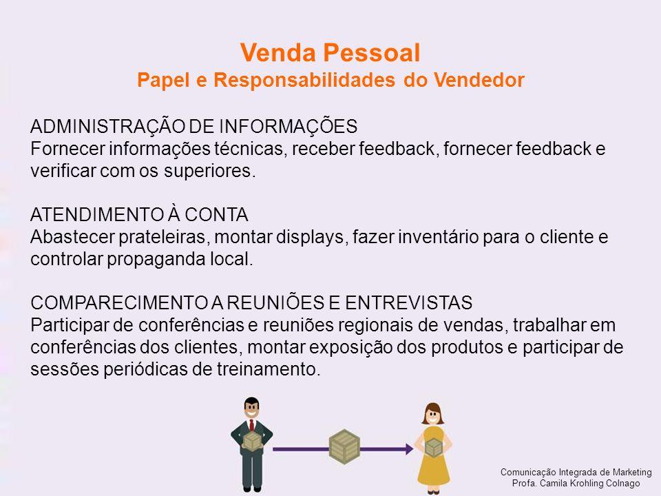 Comunicação Integrada de Marketing Profa. Camila Krohling Colnago Venda Pessoal Papel e Responsabilidades do Vendedor Comunicação Integrada de Marketi