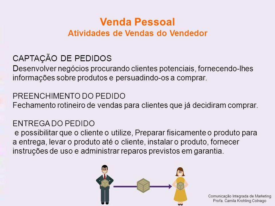 Comunicação Integrada de Marketing Profa. Camila Krohling Colnago Venda Pessoal Atividades de Vendas do Vendedor Comunicação Integrada de Marketing Pr