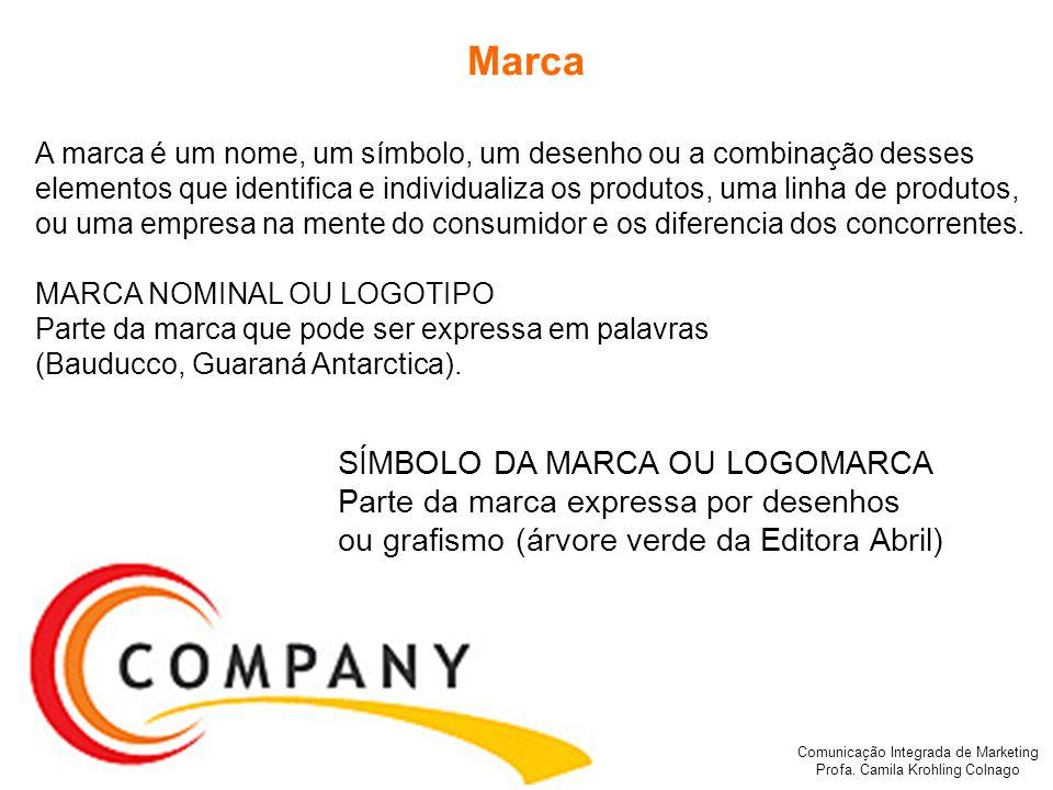 Comunicação Integrada de Marketing Profa. Camila Krohling Colnago Marca A marca é um nome, um símbolo, um desenho ou a combinação desses elementos que