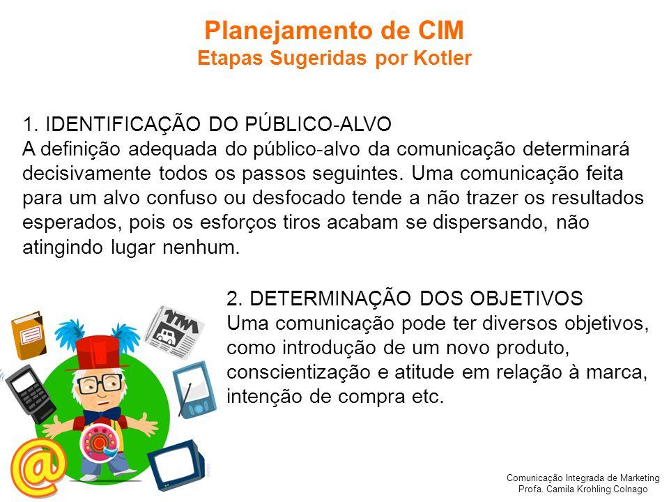 Comunicação Integrada de Marketing Profa. Camila Krohling Colnago Planejamento de CIM Etapas Sugeridas por Kotler 1. IDENTIFICAÇÃO DO PÚBLICO-ALVO A d