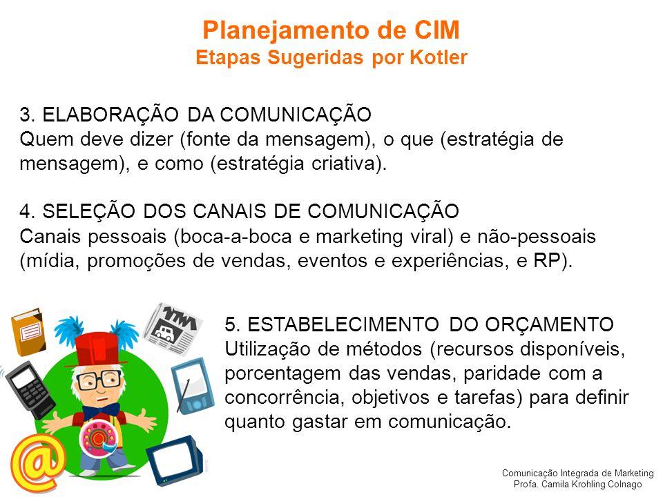 Comunicação Integrada de Marketing Profa. Camila Krohling Colnago Planejamento de CIM Etapas Sugeridas por Kotler 3. ELABORAÇÃO DA COMUNICAÇÃO Quem de
