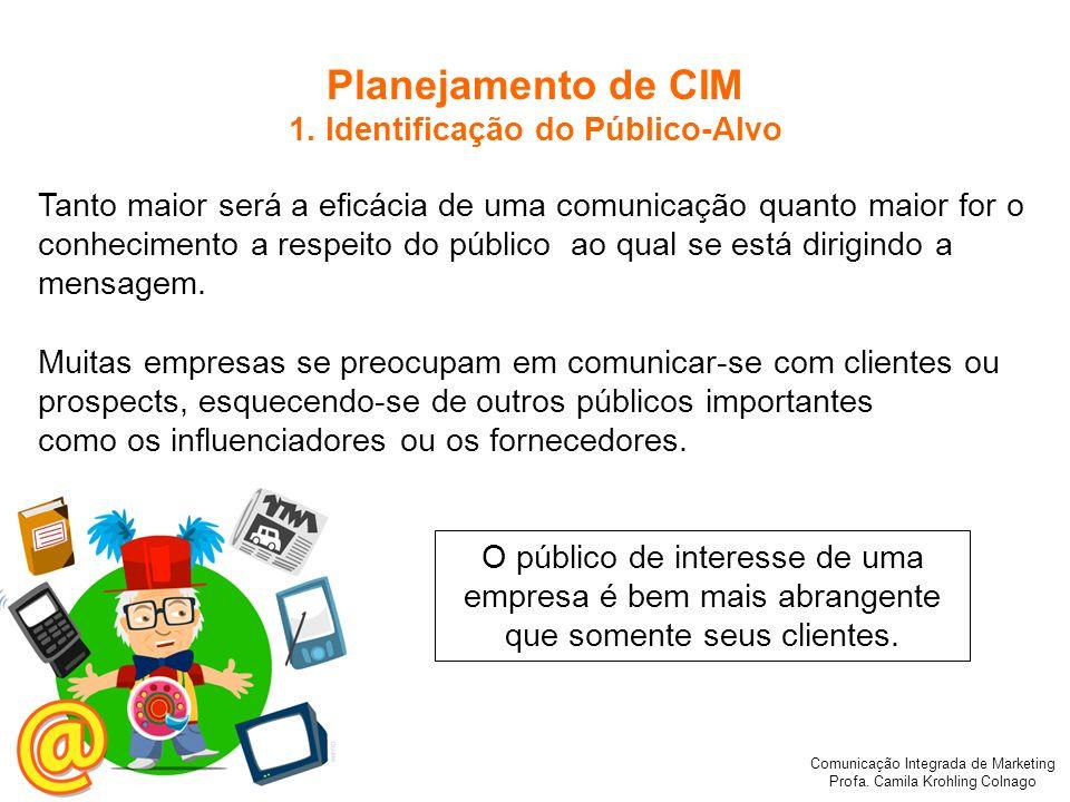 Comunicação Integrada de Marketing Profa. Camila Krohling Colnago Planejamento de CIM 1. Identificação do Público-Alvo Tanto maior será a eficácia de