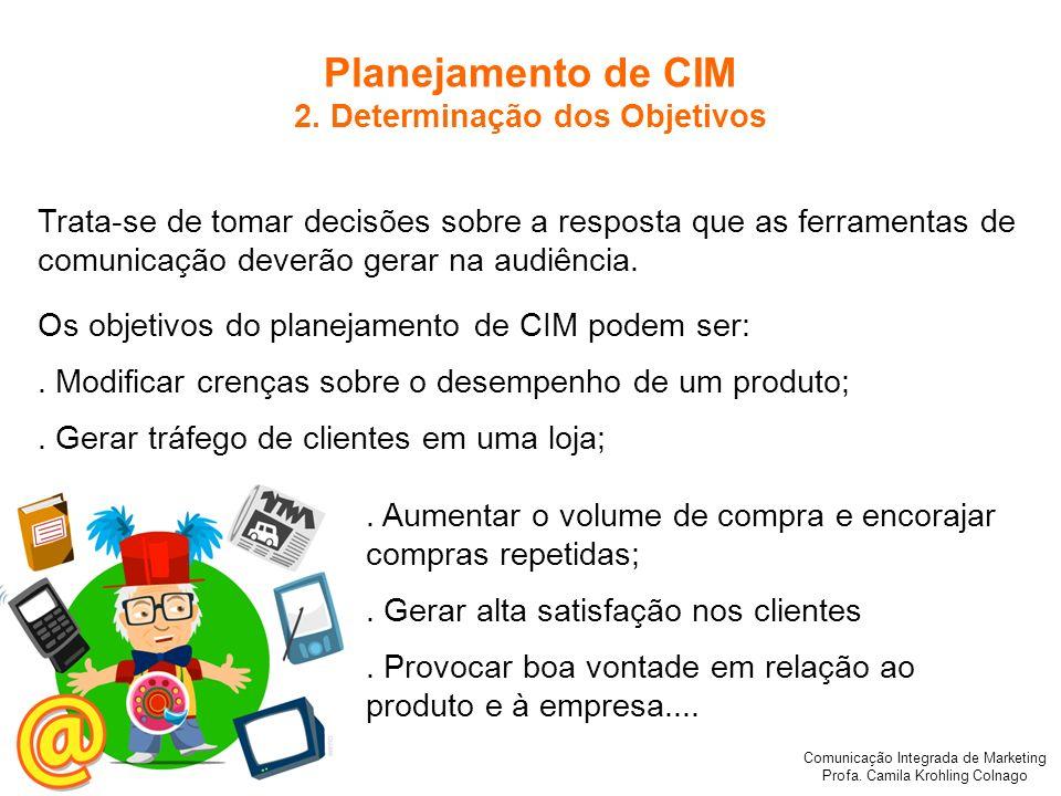 Comunicação Integrada de Marketing Profa. Camila Krohling Colnago Planejamento de CIM 2. Determinação dos Objetivos Trata-se de tomar decisões sobre a