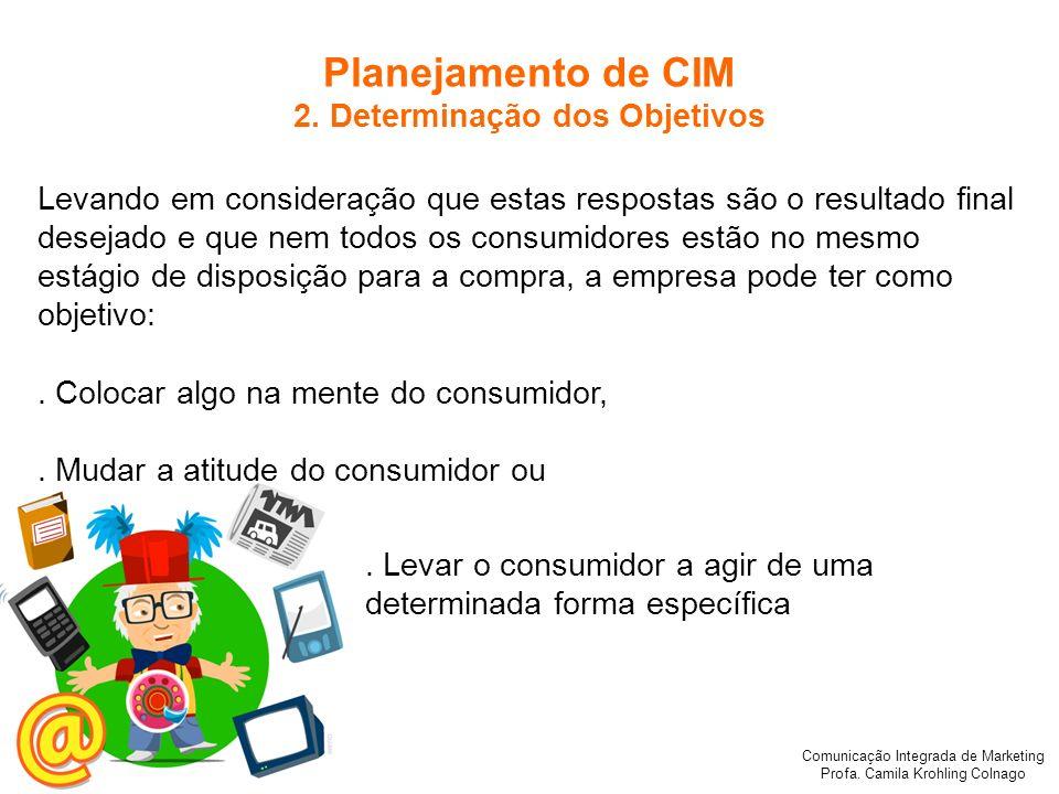 Comunicação Integrada de Marketing Profa. Camila Krohling Colnago Planejamento de CIM 2. Determinação dos Objetivos Levando em consideração que estas