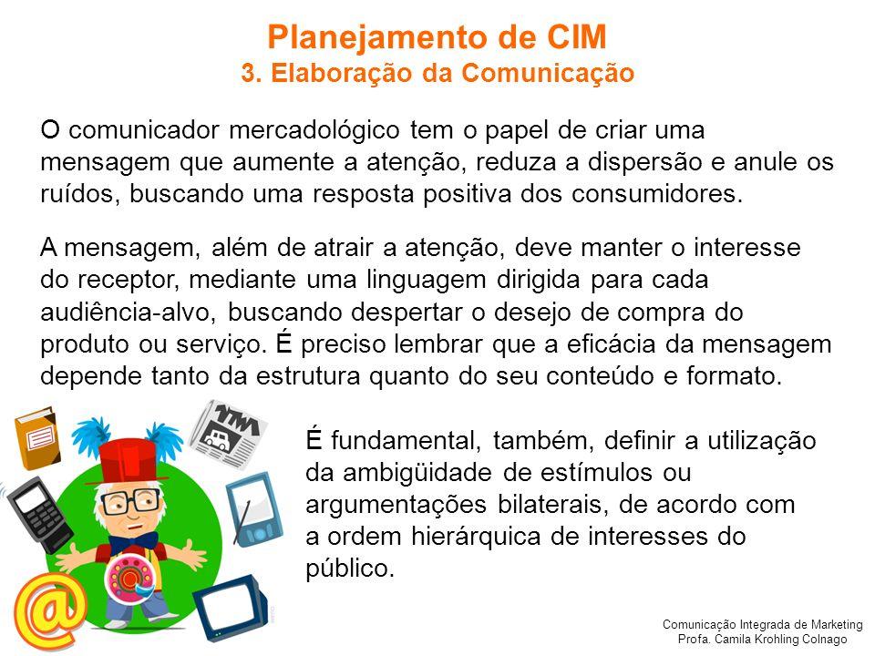 Comunicação Integrada de Marketing Profa. Camila Krohling Colnago Planejamento de CIM 3. Elaboração da Comunicação O comunicador mercadológico tem o p