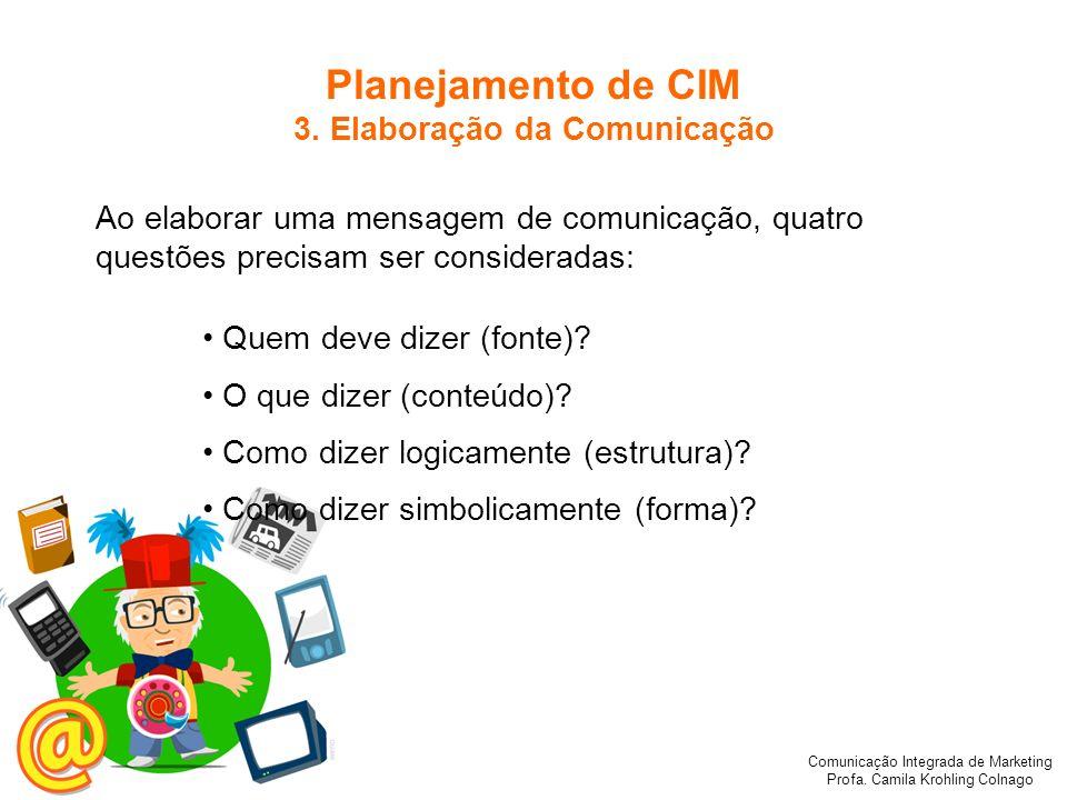 Comunicação Integrada de Marketing Profa. Camila Krohling Colnago Planejamento de CIM 3. Elaboração da Comunicação Ao elaborar uma mensagem de comunic