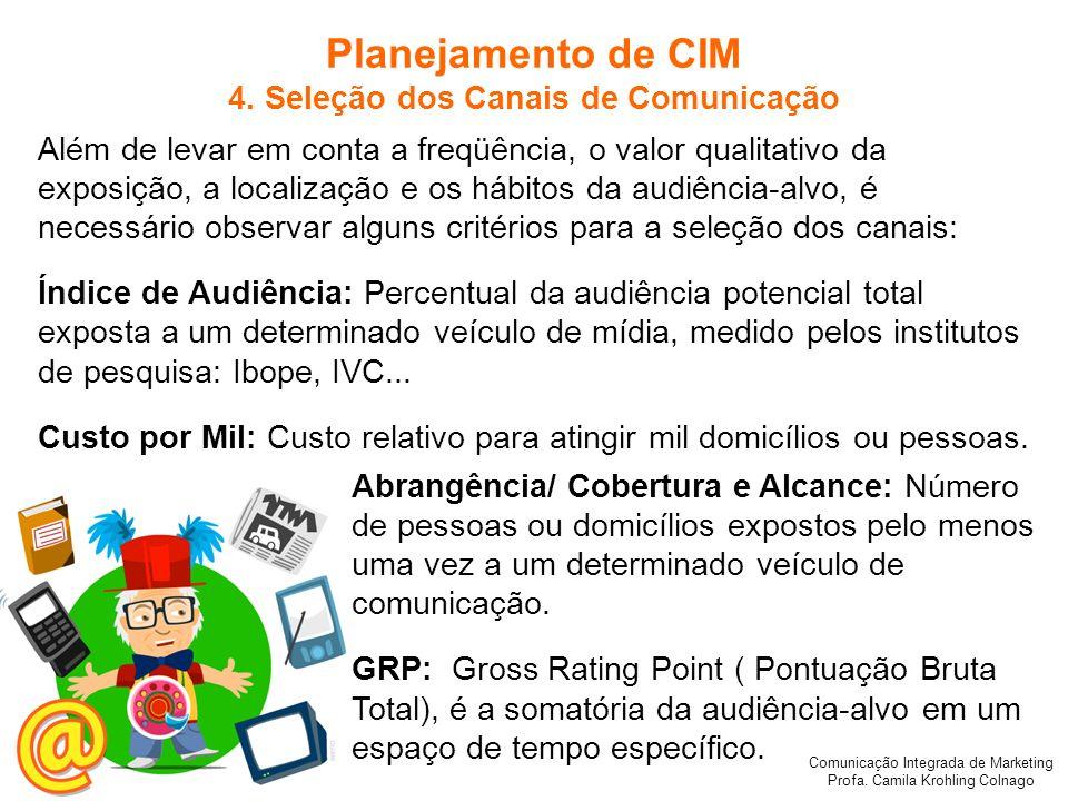 Comunicação Integrada de Marketing Profa. Camila Krohling Colnago Planejamento de CIM 4. Seleção dos Canais de Comunicação Além de levar em conta a fr