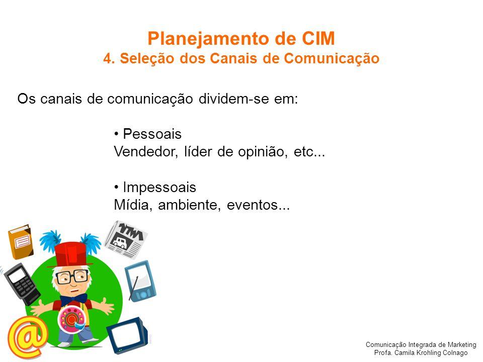 Comunicação Integrada de Marketing Profa. Camila Krohling Colnago Planejamento de CIM 4. Seleção dos Canais de Comunicação Os canais de comunicação di