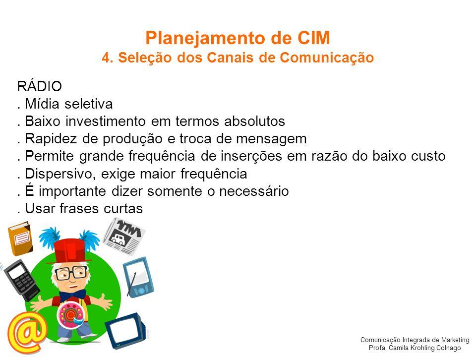 Comunicação Integrada de Marketing Profa. Camila Krohling Colnago RÁDIO. Mídia seletiva. Baixo investimento em termos absolutos. Rapidez de produção e