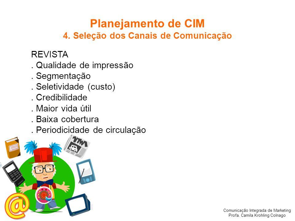 Comunicação Integrada de Marketing Profa. Camila Krohling Colnago REVISTA. Qualidade de impressão. Segmentação. Seletividade (custo). Credibilidade. M