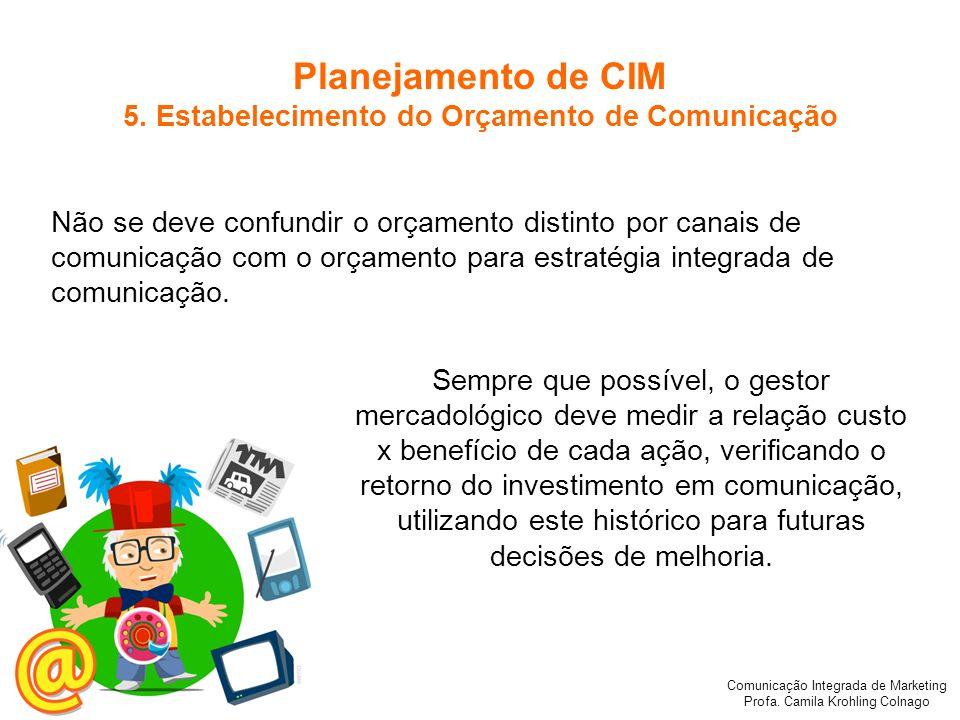 Comunicação Integrada de Marketing Profa. Camila Krohling Colnago Não se deve confundir o orçamento distinto por canais de comunicação com o orçamento