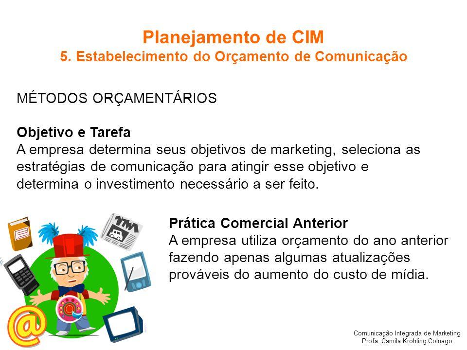 Comunicação Integrada de Marketing Profa. Camila Krohling Colnago MÉTODOS ORÇAMENTÁRIOS Objetivo e Tarefa A empresa determina seus objetivos de market