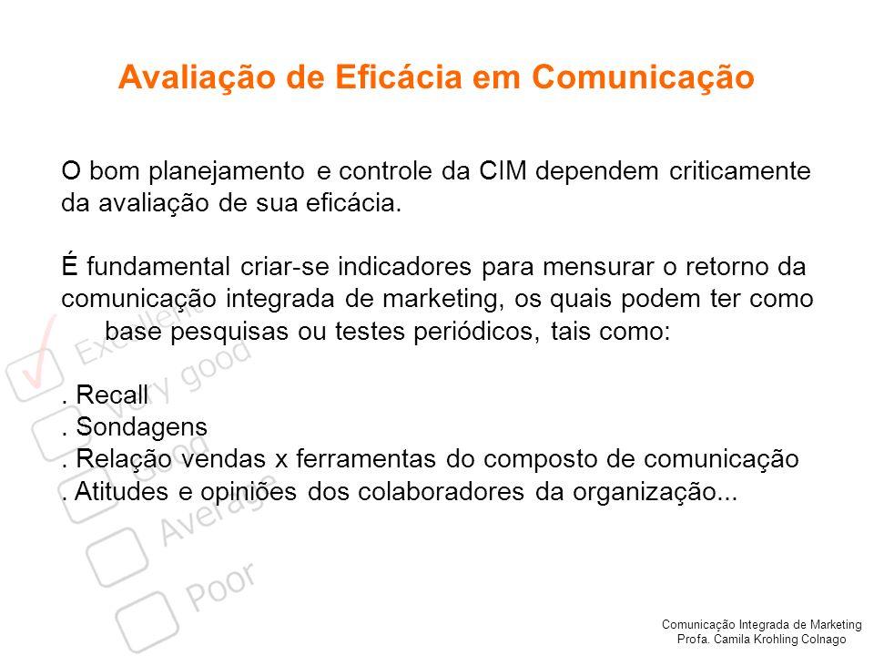 Comunicação Integrada de Marketing Profa. Camila Krohling Colnago Avaliação de Eficácia em Comunicação O bom planejamento e controle da CIM dependem c