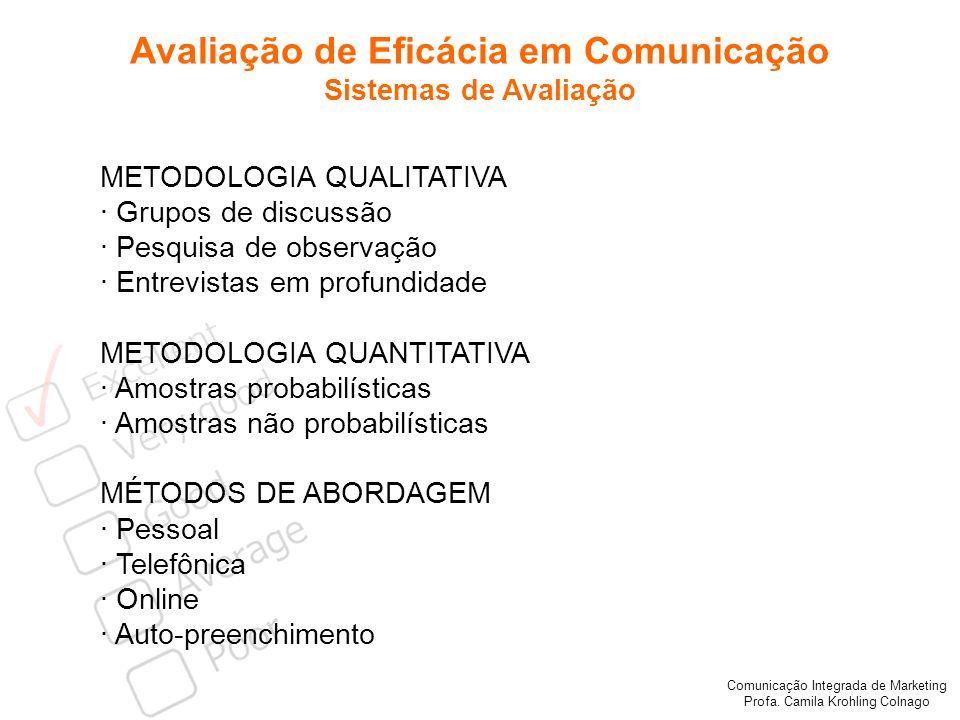 Comunicação Integrada de Marketing Profa. Camila Krohling Colnago Avaliação de Eficácia em Comunicação Sistemas de Avaliação METODOLOGIA QUALITATIVA ·