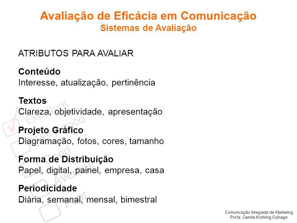 Comunicação Integrada de Marketing Profa. Camila Krohling Colnago Avaliação de Eficácia em Comunicação Sistemas de Avaliação ATRIBUTOS PARA AVALIAR Co