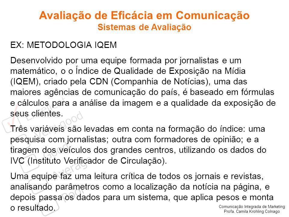 Comunicação Integrada de Marketing Profa. Camila Krohling Colnago Avaliação de Eficácia em Comunicação Sistemas de Avaliação EX: METODOLOGIA IQEM Dese