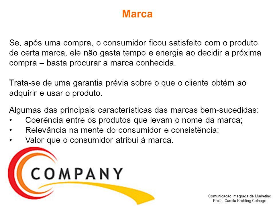 Comunicação Integrada de Marketing Profa. Camila Krohling Colnago Marca Se, após uma compra, o consumidor ficou satisfeito com o produto de certa marc