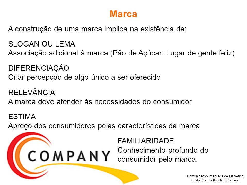 Comunicação Integrada de Marketing Profa. Camila Krohling Colnago Marca A construção de uma marca implica na existência de: SLOGAN OU LEMA Associação