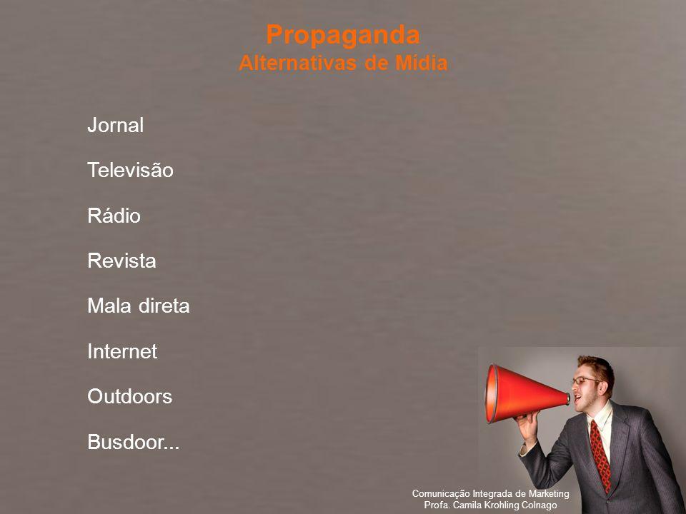 Comunicação Integrada de Marketing Profa. Camila Krohling Colnago Jornal Televisão Rádio Revista Mala direta Internet Outdoors Busdoor... Propaganda A